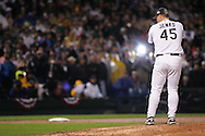 CHICAGO - OCTOBER 23:  Bobby Jenks of the Chicago White Sox prepares to deliver a pitch during Game 2 of the 2005 World Series against the Houston Astros at US Cellular Field on October 23, 2005 in Chicago, Illinois.  The White Sox defeated the Astros 7-6.