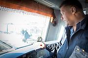 Drivers inside the Cab of the BAM (Baikal-Amur Mainline). Railway Line Train. Siberia, Russia