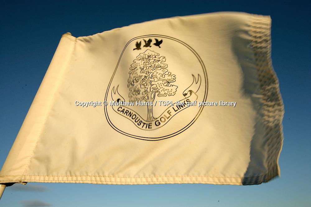 Carnoustie Golf Links club emblem on flag during autumn,Carnoustie,Angus,Scotland.