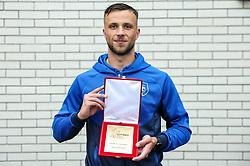 David Brekalo of Bravo with SPINS award during football match between NK Bravo and NK Olimpija in 36th Round of Prva liga Telekom Slovenije 2020/21, on May 22, 2021 in Sportni park ZAK, Ljubljana, Slovenia. Photo by Vid Ponikvar / Sportida