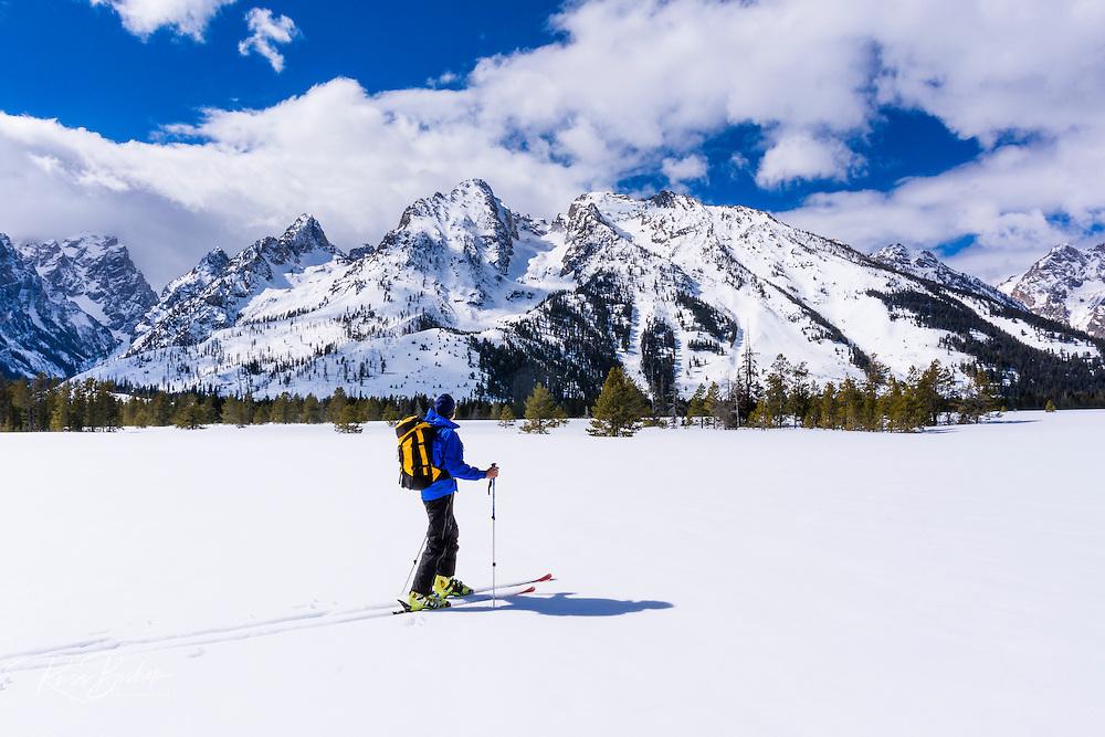 Backcountry skier under the Tetons, Grand Teton National Park, Wyoming USA