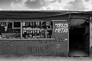 Tesco Metro on the High Street. The Calais Jungle, Northern France.