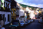 Pattern of sunshine and shadow on buildings in the town of Dingle, County Kerry, Ireland