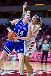 NORMAL, IL - January 03: Hattie Westerfeld attempts to muscle in on Lexi Wallen during a college women's basketball game between the ISU Redbirds and the Sycamores of Indiana State January 03 2020 at Redbird Arena in Normal, IL. (Photo by Alan Look)