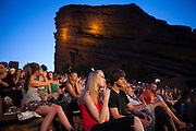 A crowd gathers for Film on the Rocks at the Red Rocks Amphitheater near Morrison, Colorado.