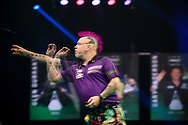 Peter Wright during the PDC Premier League Darts Night 11 at Marshall Arena, Milton Keynes, United Kingdom on 6 May 2021.