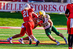 NORMAL, IL - October 16: Tanner Taula slows down Jackson Hankey to give runner Cole Mueller during a college football game between the NDSU (North Dakota State) Bison and the ISU (Illinois State University) Redbirds on October 16 2021 at Hancock Stadium in Normal, IL. (Photo by Alan Look)
