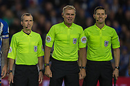 Graham Scott (Referee), Derek Eaton (Assistant Referee) and Neil Davies (Assistant Referee) ahead of the EFL Cup match between Brighton and Hove Albion and Aston Villa at the American Express Community Stadium, Brighton and Hove, England on 25 September 2019.