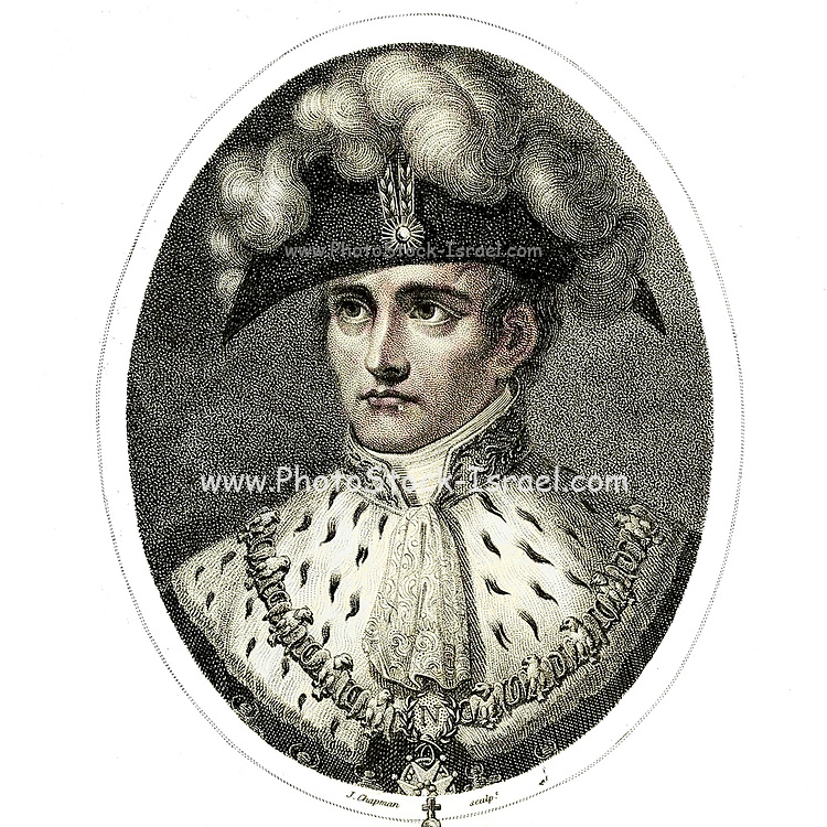 Machine Colourised (AI) Napoleon I Emperor of France and King of Italy Napoléon Bonaparte (15 August 1769 – 5 May 1821), usually known as just Napoleon, was a French military and political leader who rose to prominence during the French Revolution and led several successful campaigns during the Revolutionary Wars. He was the de facto leader of the French Republic as First Consul from 1799 to 1804. As Napoleon I, he was Emperor of the French from 1804 until 1814 and again in 1815. Napoleon dominated European and global affairs for more than a decade while leading France against a series of coalitions in the Napoleonic Wars. He won most of these wars and the vast majority of his battles, building a large empire that ruled over continental Europe before its final collapse in 1815. One of the greatest commanders in history, his wars and campaigns are studied at military schools worldwide. He remains one of the most celebrated and controversial political figures in human history.[ Copperplate engraving From the Encyclopaedia Londinensis or, Universal dictionary of arts, sciences, and literature; Volume VII;  Edited by Wilkes, John. Published in London in 1810
