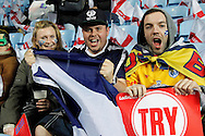 Eager Scotland fans get ready for the Ladbrokes Four Nations match between England and Scotland at the Ricoh Arena, Coventry, England on 5 November 2016. Photo by Craig Galloway.