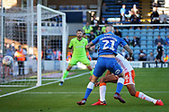 No way through for Peterborough United midfielder Marcus Maddison (21) during the EFL Sky Bet League 1 match between Peterborough United and Blackpool at The Abax Stadium, Peterborough, England on 29 September 2018.
