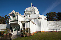 .The Conservatory of Flowers is a greenhouse and botanical garden that houses a collection of rare and exotic plants in Golden Gate Park,  With construction completed in 1878, it remains the oldest building in the park, and the oldest municipal wooden conservatory in the United States. For these distinctions and for its associated historical, architectural, and engineering merits, the Conservatory of Flowers is listed on the National Register of Historic Places, the California Register of Historical Places. It is also a California Historical Landmark, and a San Francisco Designated Landmark.
