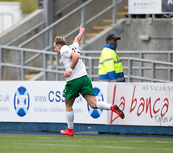 Hibernian's Jason Cummings celebrates after scoring their second goal. <br /> half time : Falkirk v Hibernian, Scottish Championship game played at The Falkirk Stadium 2/5/2015.