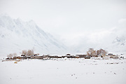 The village of Sarhad, the last Wakhi village in the Wakhan corridor...Trekking back down from the Little Pamir, with yak caravan, over the frozen Wakhan river.