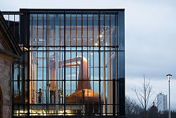 Exterior view of new Clydeside Distillery on riverbank of River Clyde in Glasgow, Scotland, United Kingdom