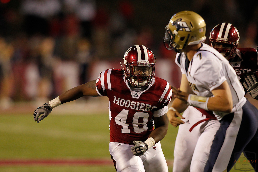 25 September 2010: Indiana Hoosiers linebacker Leon Beckum (48) as the Indiana Hoosiers played the Akron Zips in a college football game in Bloomington, Ind.