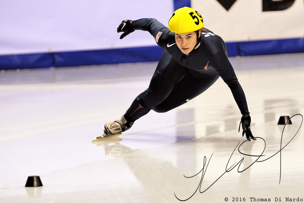 2008 World Cup Short Track - Vancouver - Maria Garcia (USA) competes in the 3000m Ladies Relay B Final.