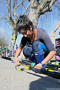 London, United Kingdom. Last Minute adjustments. 2014 Women's Head of the River Race. Chiswick to Putney, River Thames.  Saturday  15/03/2014    [Mandatory Credit; Peter Spurrier/Intersport-images]
