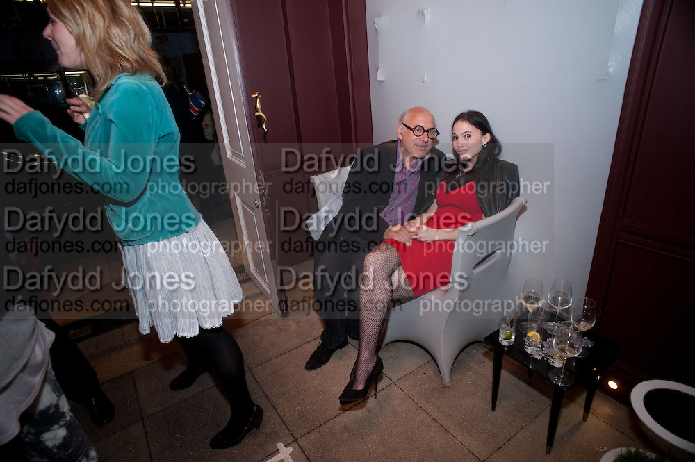 MICHAEL NYMAN; FLORENCE MACKENZIE , Party to celebrate the composer Michael Nyman's exhibition and the Russian Anglo Arts festival (Anglomockba). Sketch. London. 27 April 2009 *** Local Caption *** -DO NOT ARCHIVE-© Copyright Photograph by Dafydd Jones. 248 Clapham Rd. London SW9 0PZ. Tel 0207 820 0771. www.dafjones.com.<br /> MICHAEL NYMAN; FLORENCE MACKENZIE , Party to celebrate the composer Michael Nyman's exhibition and the Russian Anglo Arts festival (Anglomockba). Sketch. London. 27 April 2009