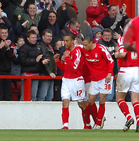 Photo: Leigh Quinnell.<br /> Nottingham Forest v Colchester United. Coca Cola League 1. 08/04/2006. Forests Nathan Tyson congratulates James Perch(L) on his goal.