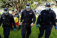 Police arrest protesters during the Black Lives Matter rally. This event was organised to rally against black deaths in custody in Australia as well as George Floyd, an unarmed black man killed at the hands of a police officer in Minneapolis, Minnesota and David Dungay who died in custody at Long Bay prison in Sydney. (Photo by Pete Dovgan/ Speed Media)