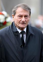Retired footballer Roger Hunt arriving for the funeral service for Gordon Banks at Stoke Minster.