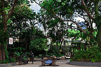 Small park on Telok Ayer Street in Chinatown, Singapore has a range of bronze statues depicting historic life.