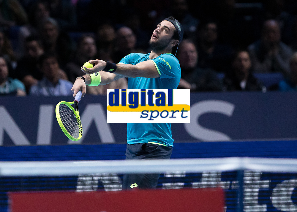 Tennis - 2019 Nitto ATP Finals at The O2 - Day One<br /> <br /> Singles Group Bjorn Borg: Novak Djokovic vs. Matteo Berrettini<br /> <br /> Matteo Berrettini (Italy) serves to stay in the match <br /> <br /> COLORSPORT/DANIEL BEARHAM