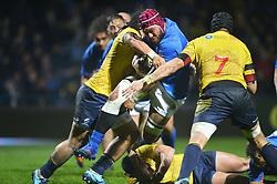 November 18, 2017 - Bucharest, Romania - Samoa's Brandon Nansen vies Romania's Mihai Macovei (captain)  during International Friendly  Rugby match at National Stadium ''Arcul de Triumf'', on November 18th 2017, in Bucharest, Romania. (Credit Image: © Alex Nicodim/NurPhoto via ZUMA Press)