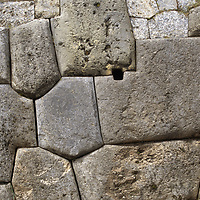 Huge, intricately carved stone blocks near Cuzco, Peru are all that remains of Sacsayhuaman, once a massive Inca temple  carved by the Inca.