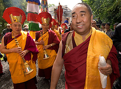 """HUY, BELGIUM - MAY-29-2006 - Lama Karta prepares for the arrival of the Dalai Lama for the inauguration ceremony of a new temple at the Institute Yeunten Ling in Huy, Belgium. The new temple was named Thubten Sherab Ling by the Dalai Lama, which means """"The garden of study and practice of the teachings of the Enlightened One"""".  This marks the start of the Dalai Lama's five-day visit to Belgium where he will speak in both Brussels and Antwerp. (PHOTO © JOCK FISTICK)"""