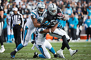 Oakland Raiders running back Latavius Murray (28) carries the ball against the Carolina Panthers at Oakland Coliseum in Oakland, Calif., on November 27, 2016. (Stan Olszewski/Special to S.F. Examiner)