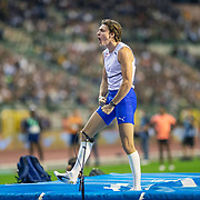 BRUSSELS, BELGIUM:  September 3:   Armand Duplantis of Sweden reacts after going clear to win the pole vault competition during the Wanda Diamond League 2021 Memorial Van Damme Athletics competition at King Baudouin Stadium on September 3, 2021 in  Brussels, Belgium. (Photo by Tim Clayton/Corbis via Getty Images)