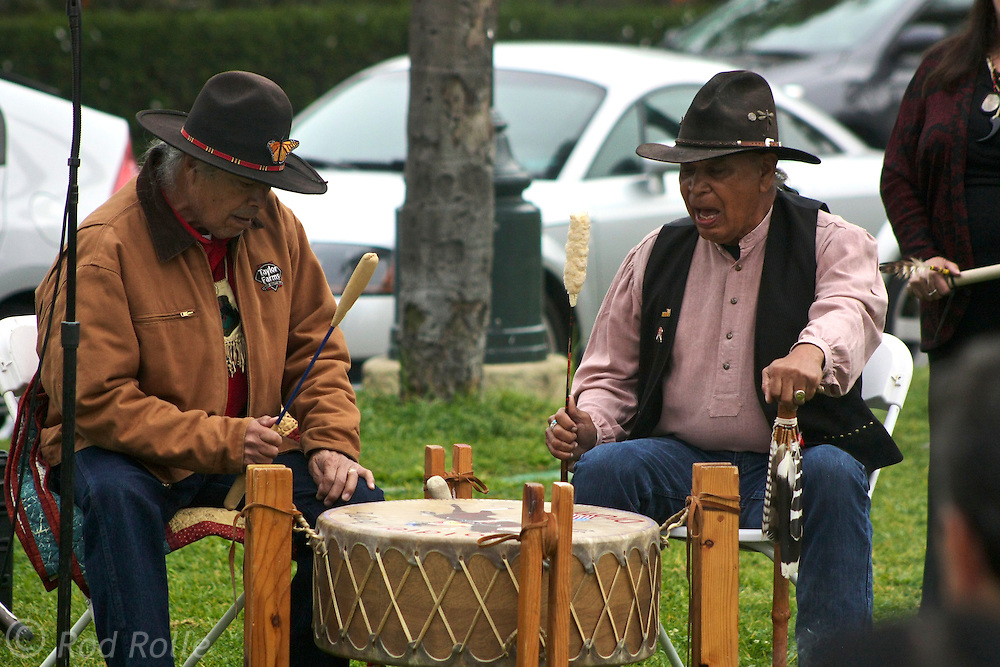 "19 January 2015-Santa Barbara, CA: Ceremonial blessing by the Santa Ynez Band of Chumash Indians (Pete Crow Heart, Elder; Matthew Zepeda, Nakia Zavalla and Cathy Marshall).  Santa Barbara Honors Dr. Martin Luther King Jr. with a Day of Celebration.  The Santa Barbara MLK, Jr. Committee chose ""Drum Majors for Justice"" as it's theme for the day which included a Pre-March Program in De la Guerra Plaza followed by a march up State Street to the Arlington Theater for speakers, music and poetry.  The program concluded with a Community Lunch at the First United Methodist Church in Santa Barbara.  Photo by Rod Rolle"