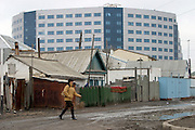 Atyrau, Kazakhstan, 14/11/2003..The new River Palace 5 star hotel amd office complex occupied by foreign oil companies rises above the centre of the old town.