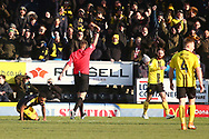 Burton Albion defender John Brayford (2) is shown a straight red card during the EFL Sky Bet League 1 match between Burton Albion and Oxford United at the Pirelli Stadium, Burton upon Trent, England on 2 February 2019.