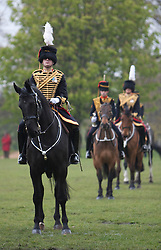 © Licensed to London News Pictures. 19/04/2012. London, U.K. The King's Troop Royal Horse Artillery parade in Hyde Park London on April 19, 2012 as they prepare for the Queen's Diamond Jubilee celebrations. Photo credit : Rich Bowen/LNP