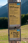 single trail, a downhill bicycle trail from the summit of Elfer mountain down to Neustift im Stubaital, Tyrol, Austria