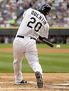 CHICAGO - JUNE 20:  Carlos Quentin #20 of the Chicago White Sox hits an RBI single in the first inning against the Chicago Cubs on June 20, 2011 at U.S. Cellular Field in Chicago, Illinois.  The Cubs defeated the White Sox 6-3.  (Photo by Ron Vesely)  Subject:  Carlos Quentin