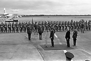 President John F. Kennedy arrives at Dublin Airport.  Kennedy replies to President Eamon de Valera's address of welcome on his arrival at Dublin Airport.<br /> 26.06.1963