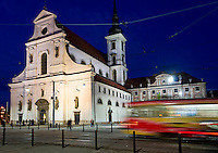 BRNO, CZECH REPUBLIC - MARCH 5th: View of St. Thomas Church (Moravske Nam) at night in Brno. Taken March 5th, 2011. This is a historic site and a very popular tourist attraction in Brno.