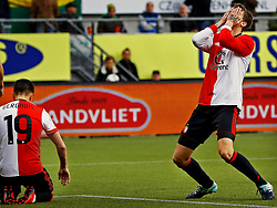 (L-R) Steven Berghuis of Feyenoord after missed chance, Michiel Kramer of Feyenoord during the Dutch Eredivisie match between ADO Den Haag and Feyenoord Rotterdam at Cars Jeans stadium on November 05, 2017 in The Hague, The Netherlands
