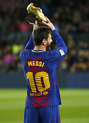 December 17, 2017 - Barcelona, Catalonia, Spain - Leo Messi offers the golden boot to the supporters during the La Liga match between FC Barcelona v Real Club Deportivo de La Coruna, in Barcelona, on December 17, 2017. (Credit Image: © Joan Valls/NurPhoto via ZUMA Press)