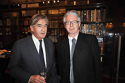 Left to right, ANTONY BEEVOR and PETER STOTHARD at a party to celebrate the publication of Maryam Sach's novel 'Without Saying Goodbye' held at Sotheran's Bookshop, 2 Sackville Street, London on 10th November 2009.