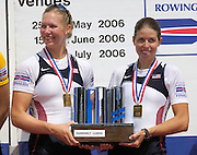 2006 FISA World Cup, Lucerne, SWITZERLAND, 09.07.2006 USA W2- Gold Medallist, Bow, Megan COOKE and Anna MICKELSON, Photo  Peter Spurrier/Intersport Images email images@intersport-images.com, Finals Day, Morning A Finals. ...[Mandatory Credit Peter Spurrier/Intersport Images... Rowing Course, Lake Rottsee, Lucerne, SWITZERLAND.