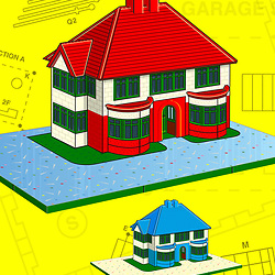 Retro Mid Century Building Contruction Kit Illustration with red and blue houses on yellow background