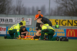 Dundee United's Frederic Frans off injured. Falkirk 1 v 1 Dundee United, Scottish Championship game played 23/2/2019 at The Falkirk Stadium.