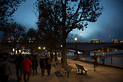 Riverside walkway at night on the Southbank, London, United Kingdom. The South Bank is a significant arts and entertainment district, and home to an endless list of activities for Londoners, visitors and tourists alike. (photo by Mike Kemp/In Pictures via Getty Images)