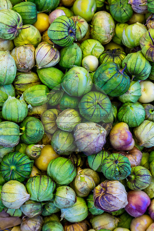 Fresh tomatillo at Benito Juarez market in Oaxaca, Mexico.