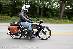 Chris O'Brien riding his 1917 Henderson in the Motorcycle Cannonball coast to coast vintage run. Stage-1 (145-miles) from Portland, Maine to Keene, NH. Saturday September 8, 2018. Photography ©2018 Michael Lichter.